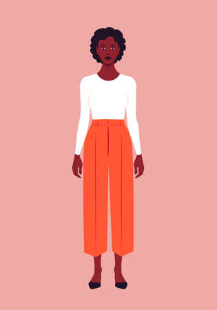 Portrait of a full-length African woman. Casual outfit for spring and summer. Vector flat illustration  イラスト・ベクター素材