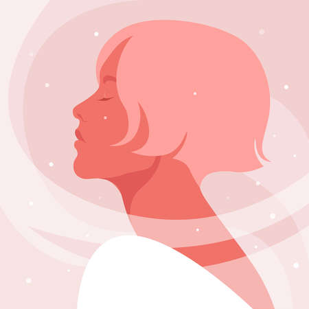 Portrait of a young woman with closed eyes. Side view. Profile with snow. Christmas and winter holidays. Vector illustration in flat style.