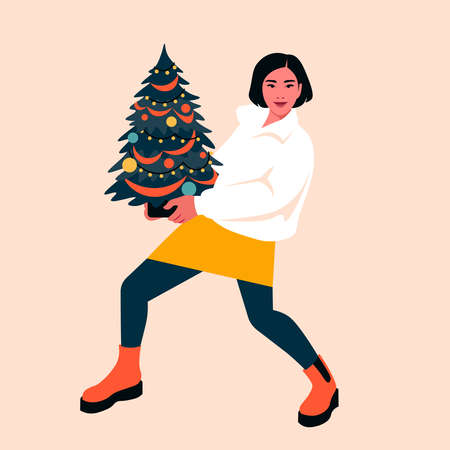 A young woman holds a decorated Christmas tree in her hands. Happy New year. Winter holidays and vacations. Vector flat illustration
