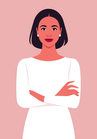 Portrait of a Hispanic woman with crossed arms. Office professions. Vector flat illustration