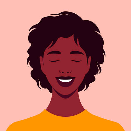 The African American woman is laughing. Fun and joy. Portrait. Happy face. Vector illustration  イラスト・ベクター素材