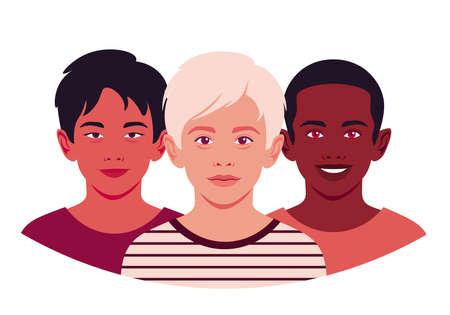 Set of faces of boys. The heads of an Asian, African and Caucasian children. Avatars of schoolboys. Vector flat illustration