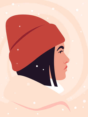 Portrait of a young woman wearing hat. Side view. Profile under snowfall. Christmas and winter holidays. Vector illustration in flat style.