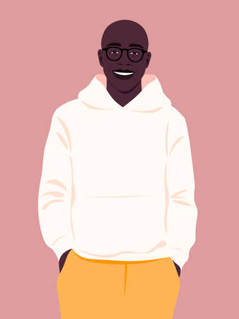 Portrait of a happy African man wearing in fashion hoodie. People and professions. Vector flat illustration.  イラスト・ベクター素材