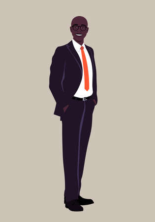 Portrait of a happy African man wearing in a business suit. Office professional in full height. Vector flat illustration.  イラスト・ベクター素材