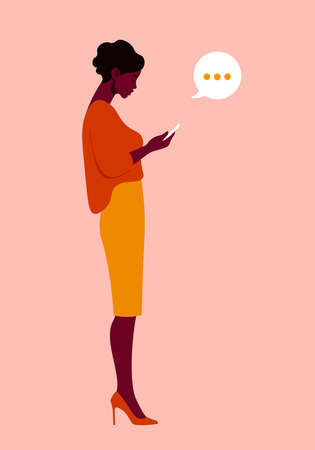 A woman is standing in profile and holding a smartphone. Figure of person in a full-length. Vector flat illustration  イラスト・ベクター素材
