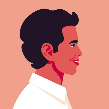 A hispanic man is laughing. Portrait of guy is profile. Happy face. Side view. Avatar for social network. Vector illustration