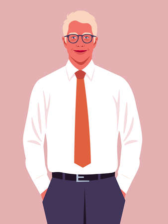 A blond man holds his hands in his pants pockets. A happy businessman. A young politician smiles. Vector flat illustration