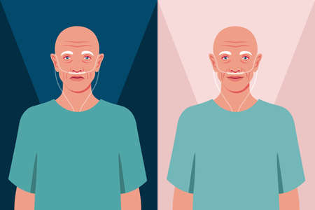 Bald senior man in the hospital. Old cancer patient with a nasal breathing tube. Health care for the elderly people. Coronavirus and respiratory therapy. Vector flat illustration