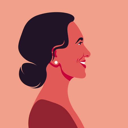 Profile of a middle-aged Latin American woman. A happy person. Side view. Avatar for social network. Vector flat illustration  イラスト・ベクター素材
