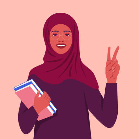 A muslim woman smiles and shows a victory sign. Happy Arab student with books wearing a headscarf. Hand gesture. Vector flat illustration  イラスト・ベクター素材