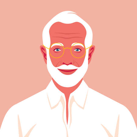 Portrait of an old man with beard and eyeglasses. Avatar of a happy grandfather. An Elderly businessman. Social networks. Vector flat illustration