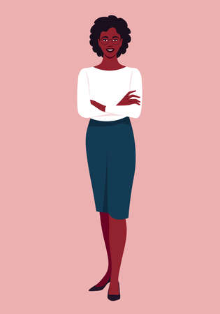 Portrait of a full-length African woman. Casual outfit. Vector flat illustration