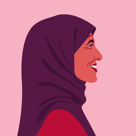 Profile of a happy muslim woman. Side view of an Arab grandmother in headscarf. Avatar of an elderly teacher. Vector flat illustration