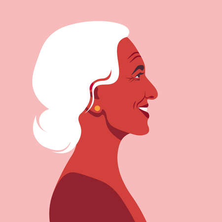 The Profile of the happy Latin American woman. The grandmother. Vector flat illustration