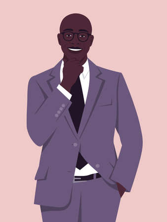 Portrait of a happy African man wearing in a business suit. Office professions. Vector flat illustration.