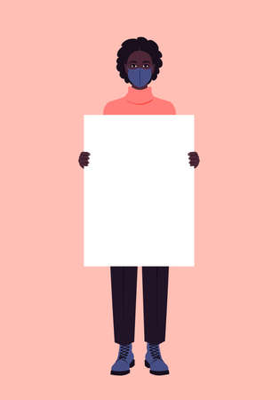 A young African woman with a medical mask is holding an empty poster. Epidemic, coronavirus. Protesting. Full-length portrait. Vector flat illustration