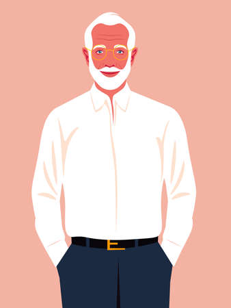 An elderly man holds his hands in his pants pockets. A happy businessman. A successful politician smiles. Vector flat illustration  イラスト・ベクター素材