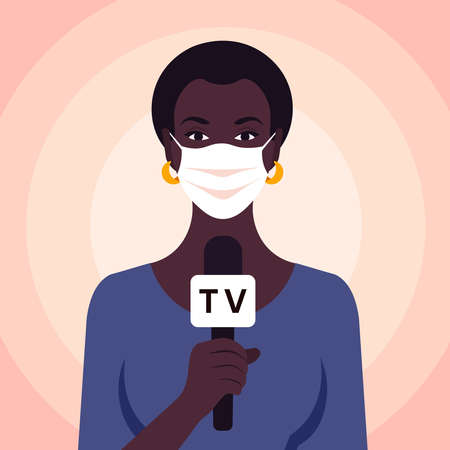 African woman talking in microphone. Newswoman in the medical face mask. TV reportage. Vector flat illustration.
