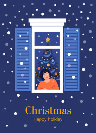 A little girl in window frame. The child looks at the snowfall. Christmas and New year. Postcard. Vector flat illustration