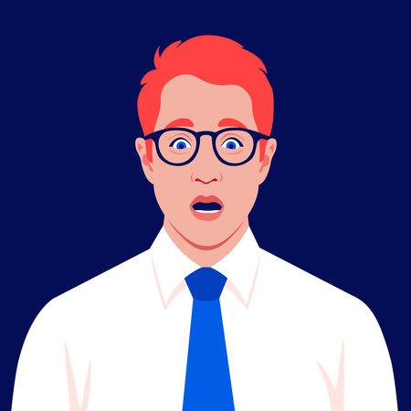 A redhead businessman feels stress. Fear, horror. A frightened man's face. Vector flat illustration