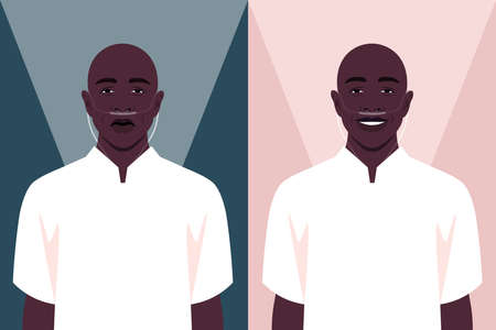 Bald African man in the hospital. Cancer patient with a nasal breathing tube. Coronavirus and respiratory therapy. Vector flat illustration
