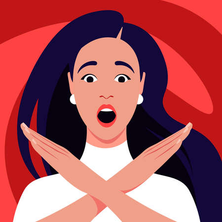 A young woman feels stress, fear, horror. Gesture of gesture of refusal and prohibition. Crossed hands. Vector flat illustration