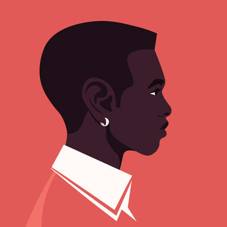 Portrait of an African man in profile. The guy's head is on the side. Diversity. Avatar. Vector flat illustration