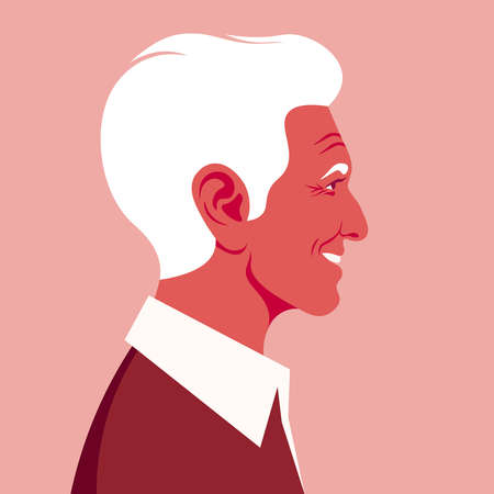 Profile of an elderly Latin American man. The face of the happy grandfather is at the side. Avatar. Vector flat illustration