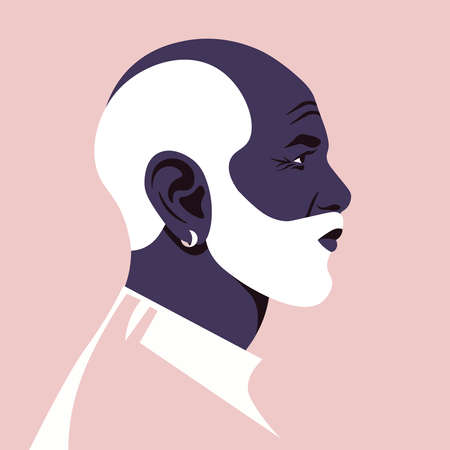 The head of a fashion African man with a white beard in profile. Grandfather's face. Avatar for social networks. Vector flat illustration