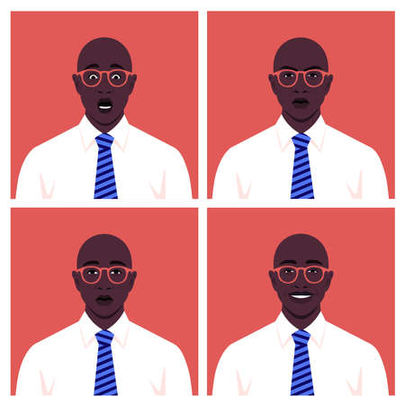 Set of faces of businessmen. Avatars of African guys. Different emotions: happiness, anger, sadness and fear. Vector illustration