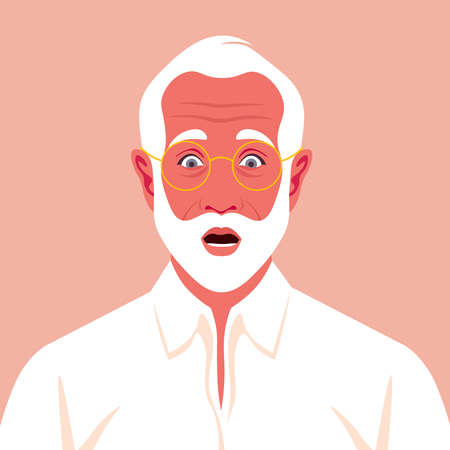An elderly businessman feels stress. Fear, horror. A frightened man's face with white beard. Vector flat illustration