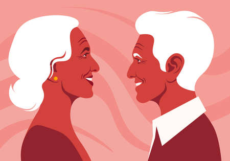 The old lovers in the profile. Happy elderly couple. Love and dating. Family relationship. Vector flat illustration  イラスト・ベクター素材