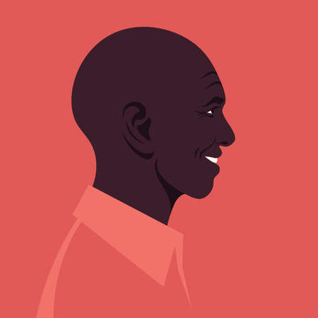 Profile of an elderly African man. The face of the happy grandfather is at the side. Avatar. Vector flat illustration  イラスト・ベクター素材