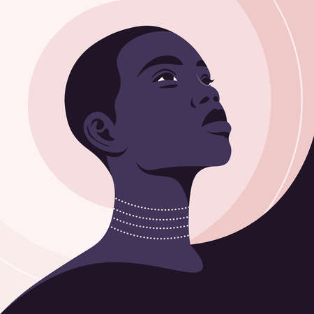 Portrait of a beautiful African woman in half-turn. Young fashion model. Avatar for social networks. Vector illustration in flat style.  イラスト・ベクター素材