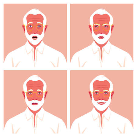 Set of faces of elderly businessman. Grandfather's avatars. Different emotions: happiness, anger, sadness and fear. Vector flat illustration