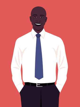 Portrait of a happy African man wearing in an office white shirt and necktie. Vector flat illustration.