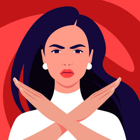 The Hispanic woman feels anger and she crossed her arms. A gesture of refusal and prohibition. Campaign against violence and human rights violations. Vector flat illustrations