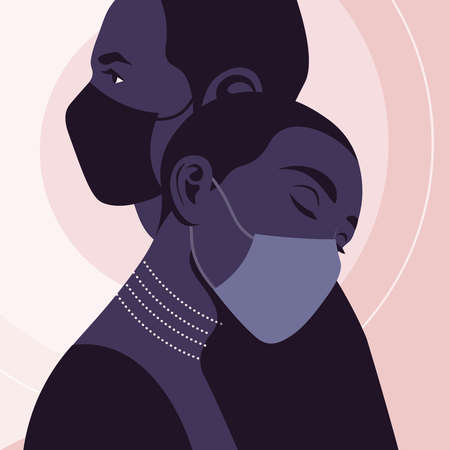 Profiles of African couple with medical face masks. Valentine's Day. Love in the distance. Family relationship and pandemic. Vector flat illustration