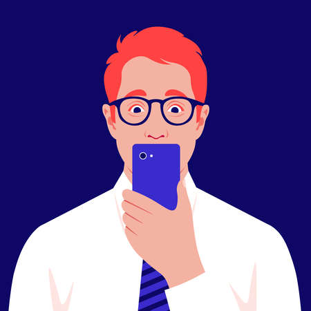 A shocked redhead man looks into his smartphone. Portrait of a businessman is reading terrible news. Vector flat illustration  イラスト・ベクター素材