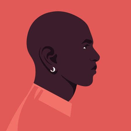Portrait of an African man in the profile. Face of a human. Side view. Avatar. Vector flat illustration