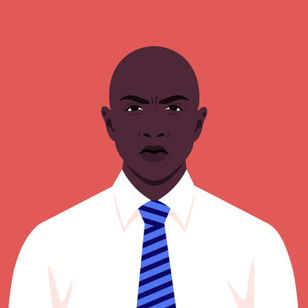 Avatar of an angry man. Portrait of an African businessman in a white shirt with a tie. Vector illustration in flat style
