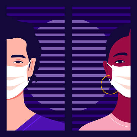 The heads of woman and man with medical face masks.  イラスト・ベクター素材