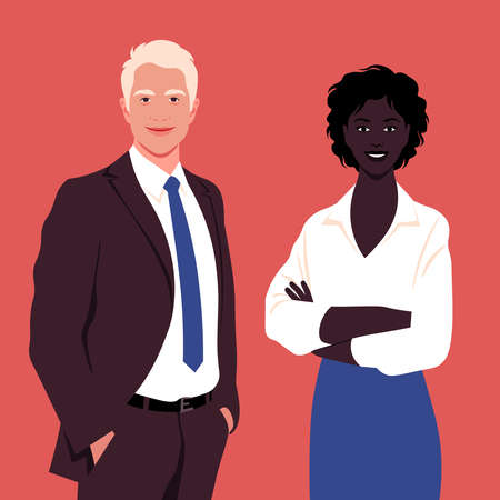Portrait of a happy African woman and a blond man wearing in a business suit. Office professions. Vector flat illustration.