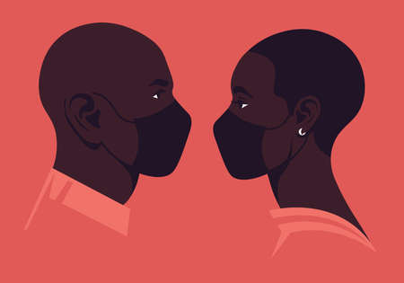 Profiles of African faces with medical face masks. The heads of woman and man.