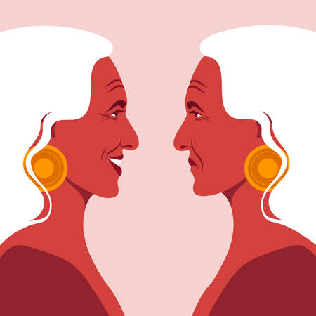Bipolar disorder. Portrait of an elderly woman in profile. Depression and Happiness. Two female faces on the side. Vector illustration in flat style