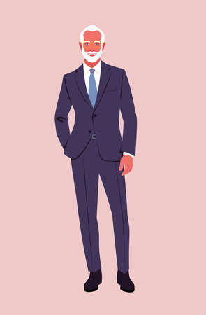An elderly confident man wearing in a business suit stands at full height. A stylish grandfather is smiling. Happy old age. Vector flat illustration