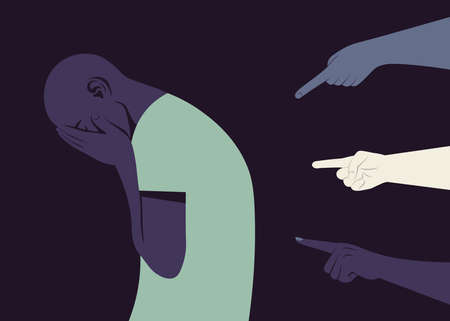 The shame. Hands of different people point to the crying African man. Bankrupt. The pressure of society. Vector flat illustration