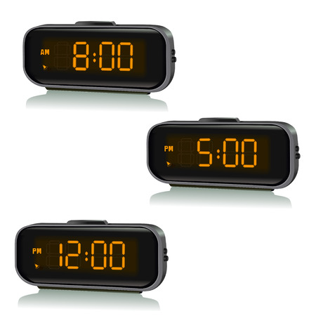 digital timer: set of digital clocks with different time. vector illustration