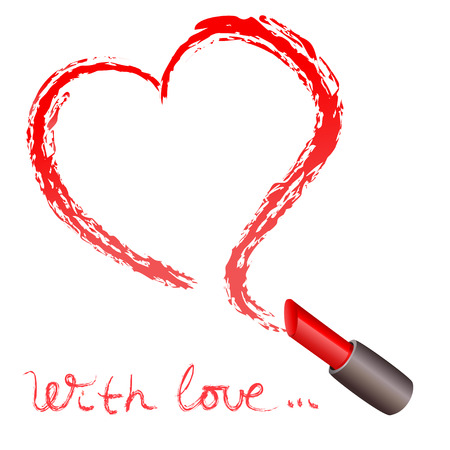 Lipstick and a trace in the form of heart. vector illustration Çizim